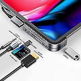 USB C Hub für iPad Pro 2018 2019 2020, Baseus 6 in 1 USB C auf 4K HDMI Adapter, PD 100W Power Delivery, USB 3.0, SD/TF Kartenleser, 3,5 mm Kopfhöreranschluss, kompatibel mit MacBook Pro/iPad Pro