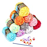 LIHAO 10x50g Wolle zum Stricken Handstrickgarn Häkelgarn Acryl für Häkeln und Kunsthandwerk - 10 Farben