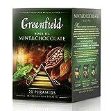 Greenfield schwarzer Tee Mint & Chocolate 2er Pack (2 x 20 Pyramidenbeutel) Schwarztee tea