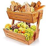 Bambus Obstkorb, Bambus 2-stufiger Servierkorb, Gemüse Ei Brot Aufbewahrungsschale Korbhalter für Küchenarbeitsplatte, Home Dekorative Lagerung