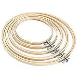 Pllieay Runde Stickrahmen, 5 Stück, 5 Größen, aus Bambus, für Handwerk, Nähen