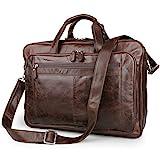 UBaymax Leder Aktentasche Laptoptasche Herren, Vintage Ledertasche Businesstasche für bis 17 Zoll Laptop, Klassische Echt-Leder Schultertasche Arbeitstasche Messenger Tasche, Braun