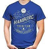 Mein Leben Hamburg Männer und Herren T-Shirt | Fussball Ultras Geschenk | M1 Front (XL, Blau)