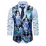 BAIZAN Herren Vier Tasten Casual Weste, Vintage Gedruckt V-Ausschnitt Weste, Slim Fit Anzug Single Breasted Waysist,2,M