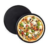 Relaxdays Pizzablech, 2er Set, rund, antihaftbeschichtet, Pizza & Flammkuchen, Carbonstahl, Pizzaform, ? 32 cm, grau, 10025633