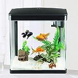 ZLFCRYP Kleine Glas Fischschale LED Beleuchtung Effizientes Filter Fischtank Einfache Schwarzweiss Bicolour Dekorative Turtle Aquarium Goldfisch Fischbecken 230CBlack