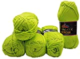 5 x 100 Gramm Wolle Mercan einfarbig, 500 Gramm Strickwolle uni (kiwi 22)