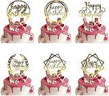BOSSTER Kuchen Topper 6 stück Tortenaufsatz Acryl Happy Birthday Cupcake Dekoration für Geburtstag Party Bäckerei Geschäfte Dek