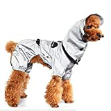 Reflektierende wasserdichte Jacke für Hunde, verstellbare Haustierkleidung mit Kapuze Regenjacke für Hunde Vierbeiniger Regenbekleidungsoverall für Welpen, kleines, mittleres Haustier,XL