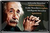 """Blechschilder Albert Einstein Zitat Spruch """"Schwache Menschen Rache Nachdenken Weisheiten Deko Metallschild Schild Geschenk für Weihnachten oder Geburtstag 20x30 cm"""