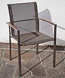 ASS Designer Gartenstuhl mit Armlehne Kuba-BRAUN Gastroqualität Stapelsessel Gartensessel Stapelstuhl Sessel Edelstahl Batyline Textilene Teak stapelbar sehr rob