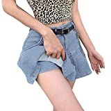 Jeans Mini-Rock Damen Casual Rock Sexy Jeans Denim-Rock mit Knopfleiste Hohe Taille Denim Röcke Hohe Taille Slim Splice Anti-Sneak Shooting Denim Casual Mode Elastischer Mädchen Kurzen Rock