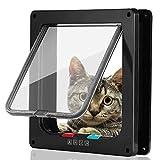Smilelove Katzenklappe Hundeklappe 4 Wege Magnet-Verschluss für Katzen, Große Hunde Hundetür Katzentür Haustierklappe, Installieren Leicht mit Teleskoprahmen (M-Schwarz)