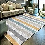Modern Designer Rug Kurzflor rutschfeste Mat fürs Wohnzimmer, Schlafzimmer,Gelbgraue mehrfarbige Linien 200X300CM(6.6ft x 9.8ft)