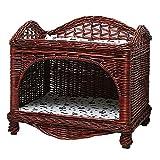 WWQQ Rattan-Hundebett, Katzenkorb, Haustierbett, kleines Hundebett, Katzenstreu, abnehmbares Katzenbett mit Haustieren, kühlem Sommer