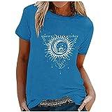 Damen-T-Shirt, modisch, Sonne und Mond, bedruckt, kurzärmelig, Rundhalsausschnitt, Übergröße, Blau 2, Large