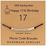 YooAi Morsecode Armband Alles Gute zum Geburtstag Geschenke für Mädchen Jungen Sterling Silber Armband Geburtstagsgeschenk Schmuck für 17 Jahre alte Perlen auf Seidenschnur 17