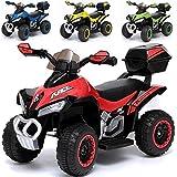 Elektrisches Kinderfahrzeug Kinder Quad Joy Motorrad Elektroquad mit Licht Sound und Heckkoffer (ROT)