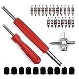 Sinblue Reifenventil Kern Werkzeug Set mit Doppel und Einzelkopf Ventilkern, Reifenreparatur-Werkzeug, 1 Stück 4 Wege Ventil Werkzeug, 10 Stück Reifenventilkappen, 20 Stück Ventilkern