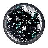 Handgezeichnete Schubladengriffe im Weltraummonster-Design, für Schrank, Frisiertisch, Kommode, mit Schrauben, 4 Stück