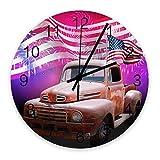 Holze runde Wanduhr American Flag Day Independence Day Feuerwerk und Vintage Trucks Silent Non-Ticking , Batteriebetriebene Quarz Leise Wanduhr für zu Hause , Büro , Schule 10 Z