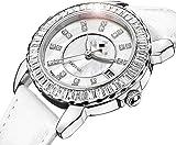 JDHFKS Uhren Keramikuhren der neuen Ankunfts-Quarz-Frauen-Uhr Weibliche Uhr Weiß voller Kristall beiläufige Art und Weise Armbanduhren 22cm