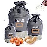 Caufiled 3er-Set Aufbewahrungsbox, Vintage Korb Retro Leinen-Beutel für Lagerung Lebensmittel Gemüse, Aufbewahrungsbeutel für Zwiebel Knoblauch-Topf