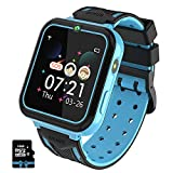 PTHTECHUS Kinder Smartwatch, Smart Watch Phone mit Musik-Player, SOS, 1,55 Zoll LCD-Touchscreen-Uhr mit Digitalkamera, Spielen, Taschenlampe, Zwei Wege Gespräch, Wecker für Jungen und Mädchen(Blau)