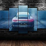 VYQDTNR Leinwand Malerei Wandkunst Modulare Bilder 5 Stücke/Stücke 911 Carrera GT4 Schneewittchen Auto Malerei HD Druck Poster Home Dekorative Moderne Wohnzimmer Rahmen