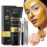Mitesser Maske, 24 Karat Gold Peel Off Maske, Blackhead Remover Maske, Gold Gesichtsmaske Anti-Aging, Tiefenreinigung, Reduziert feine Linien und Falten Ideal für alle Haut