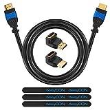deleyCON HDMI Set - 5m HDMI Kabel + 2X HDMI Winkel Adapter (90° + 270° Grad) + 3X Klett-Kabelbinder + Microfaser Reinigungstuch