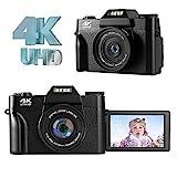 LongOu Digitalkamera Fotoapparat Digitalkamera 4K 48.0MP Ultra HD Kompaktkamera 16-facher Digitalzoom,Schwarz