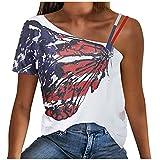 Qigxihkh Mädchen Damen Sommer bequem lässig süß vielseitig mehrfarbigDamen Sommer lässig Drucken kalte Schulter Kurzarm Tunika Shirt Tops Bluse