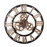 Nicoone Wanduhr 40Mm 3D Holz & Metall Getriebe Uhr Dekorative Wanduhr für Wohnzimmer Schlafzimmer Küche - Batterie Nicht Enthalten