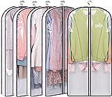 MISSLO Kleidersäcke mit Seitenfalte, 127 cm, transparent, für Kleider, Hemden, Kleider, Kleider, 5 Packungen