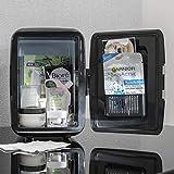 Global Gizmos Mini-Kühlschrank | vielseitiger Kühler und Wärmer | Aufbewahrung von Snacks, Getränken und Beauty-Produkten | tragbar mit Tragegriff (schwarz)