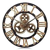 Lafocuse 58 cm Industriell Groß Steampunk Zahnrad Gold Wanduhr XXL Lautlos Holz Quarzuhr mit Romische Zahlen Vintage für Büro Wohnzimmer
