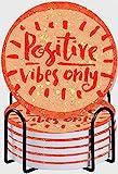 GUVICINIR Untersetzer für Getränke,Positive Vibes Only Hand Schriftzug Zitat auf Doodle Hintergrund,Absorbierenden Saugfähige Untersetzer mit Halter,Einweihungsparty Geschenk Steinuntersetzer 6 Set