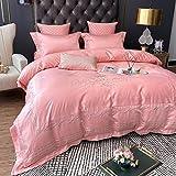 Seide Bettwäsche, gewaschene Seidenstickerei, vierteiliges Set, Plain-Baumwolle Bettwäsche, Tencel-Bettbezug, Satin-Bettwäsche, klein, großes, extra großes Textil, passend für alle Jahreszeiten