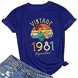 XI-BO T-Shirts für Damen, Vintage-Stil, 1971, original, lustig, grafisch, kurzärmelig, Übergröße, S-3XL Gr. Large, blau