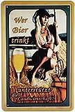 Tin Sign Blechschild 20x30 cm Wer Bier trinkt unterstützt die Landwirtschaft lustiger Spruch Pin up Girl Heugabel Bar Kneipe Pub Cafe Haus + Garten Deko