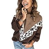 Damen-Cardigan für den Winter, weit, mit langen Ärmeln, mit Leopardenmuster, lässig, modisch., Braun XL
