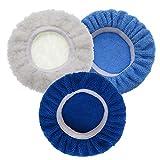 XKMY 12,7 cm & 15,2 cm Autopolierer-Pad Motorhaubenwachser Set aus Wolle + Baumwolle + Mikrofaser + Korallenvlies für Autolackpflege Polieren (Farbe: je 1 Stück)