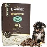 Empire Welpen Trockenfutter - 1,8kg - Hundefutter Trocken Getreidefrei - Kleine Rassen - 80% Frisches Wildfleisch und Lammfleisch - Hypoallergen - Glutenfrei - 100% Natürlich