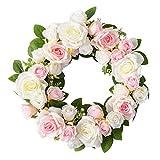 Lyrccoa Rosenkranz, 55,9 cm, rosa Blume, grüne Blätter, für Haustür, Wand, Hochzeit, Party, Heimdekoration, Garten, Sturz, Dekoration, Türaufhängung