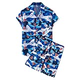 T-Shirt Herren Sommer Mode V Ausschnitt Modern Männer Hawaii Hemd Casual Urlaub Kurzarm Set Loose-Fit Schnelltrocknend Herren Strandshirt E-TZ55 XL