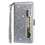 Molg Kompatibel mit Samsung Galaxy S21 5G Hülle Glitzer Premium PU Leder Reißverschluss Wallet Flip Case [Armband] [Kartenfach] [Magnetverschluß] Stoßfest Cover-Silber