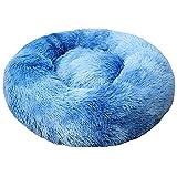 FENGNANMY Welpenunterlage Runde Plüsch Hund Bett Haus Hund Matte Winter Warme Schlafkatzen Nest Weiche Lange Plüsch Hundekorb Haustier Kissen Tragbare Haustiere liefert (Color : 8, Size : 40cm)