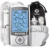 AUVON TENS Gerät, Wiederaufladbare Reizstromgerät gegen Schmerzen mit 16 Trainigsprogramme, 2 Kanäle und 10 Stück 2'x 2' Premium Elektroden Pads mit patentiertem Design