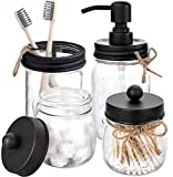 Beuway 4-teiliges Einmachglas-Badezimmer-Zubehör-Set, Seifenspender, 2 Apotheker-Gläser, Zahnbürstenhalter für Badezimmer, Heimdekoration, Aufsatz-Schminktisch, Organisation (schwarz)